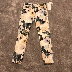 7 for all mankind floral super skinny jeans 25 NWT